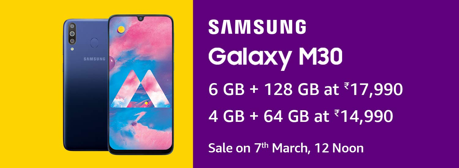 Samsung galaxy m30 sales start from 7th March 2019